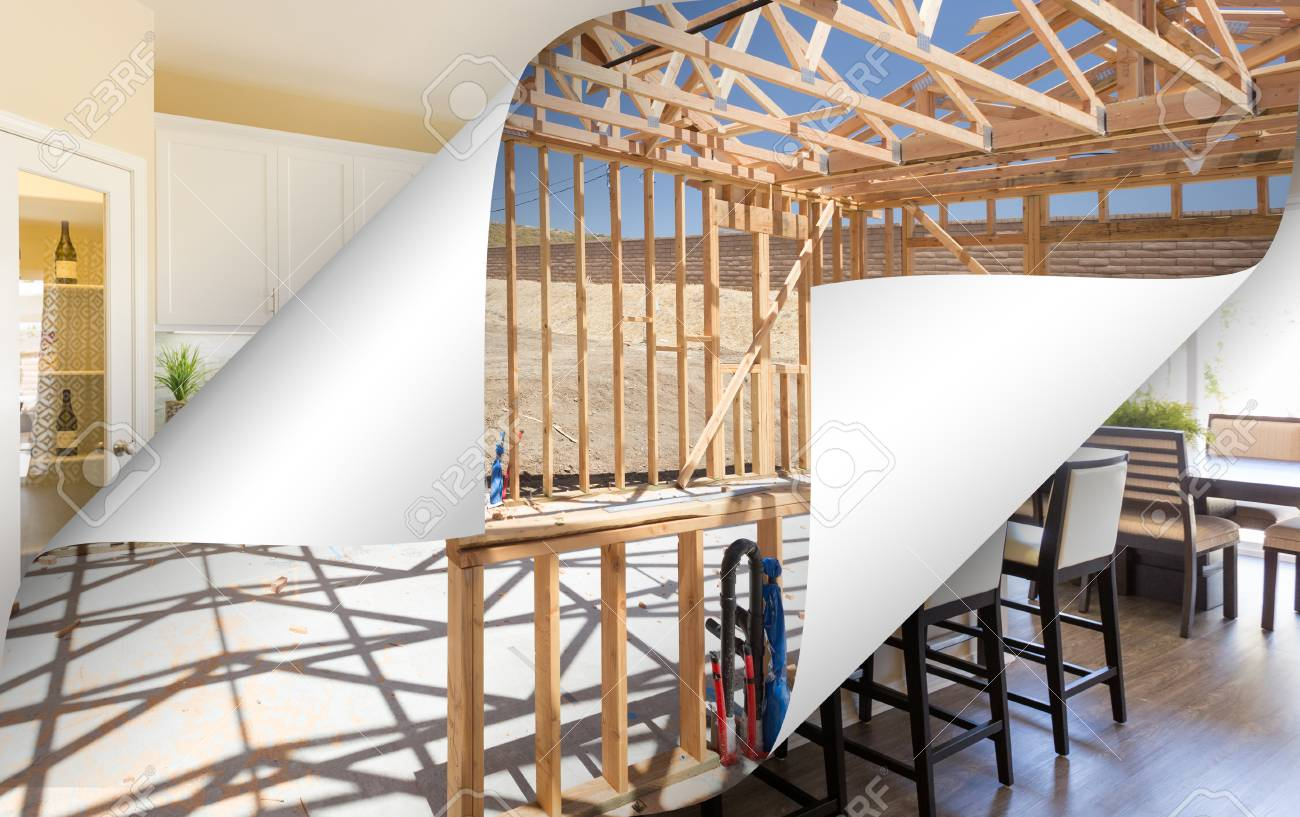Kitchen Construction Framing With Page Corners Flipping To Completed ...