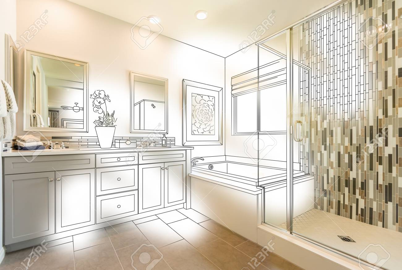 Custom Master Bathroom Photo With Brush Stroke To Design Drawing ...