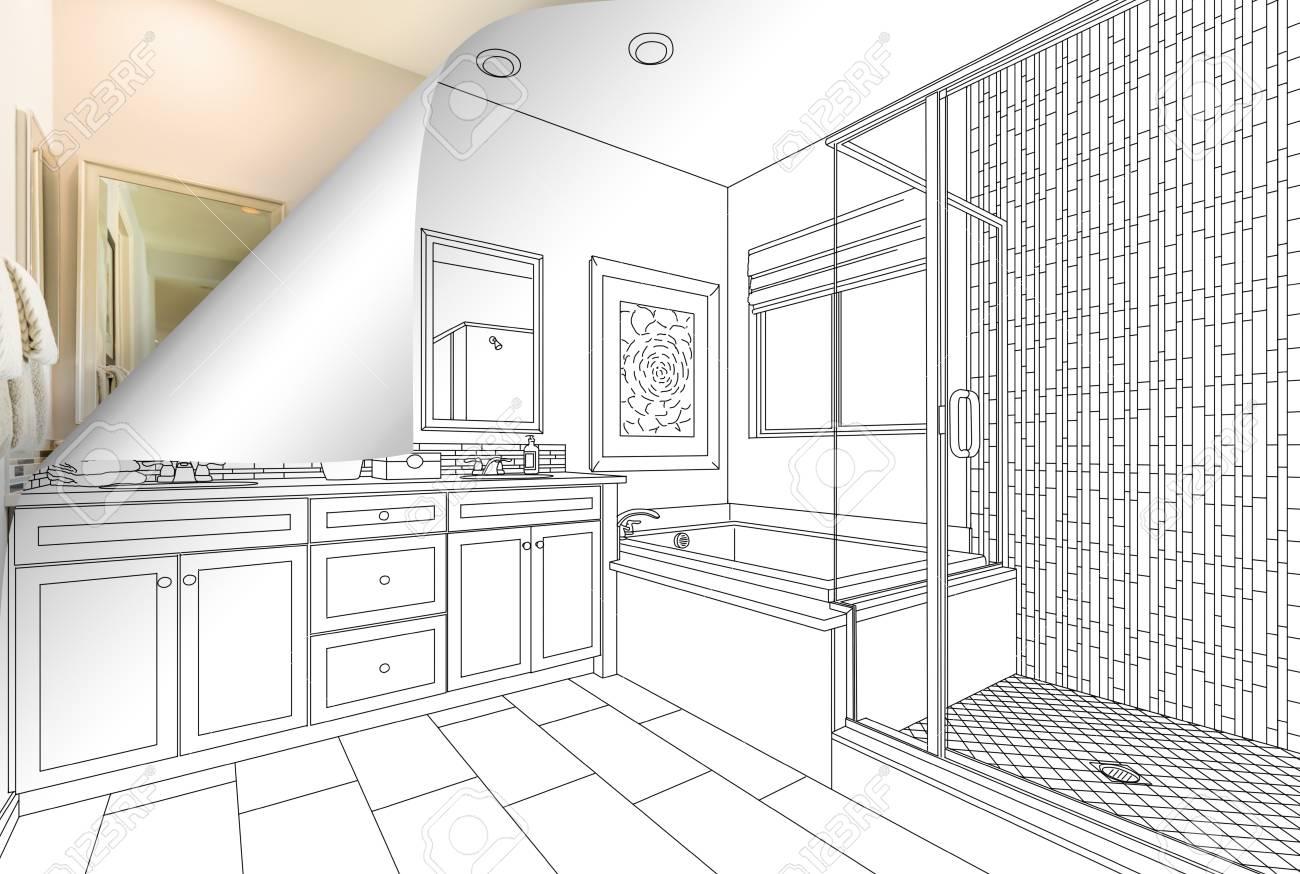 Dessin Salle De Bain maître salle de bains dessin de salle de bains réglage avec photo recadrée