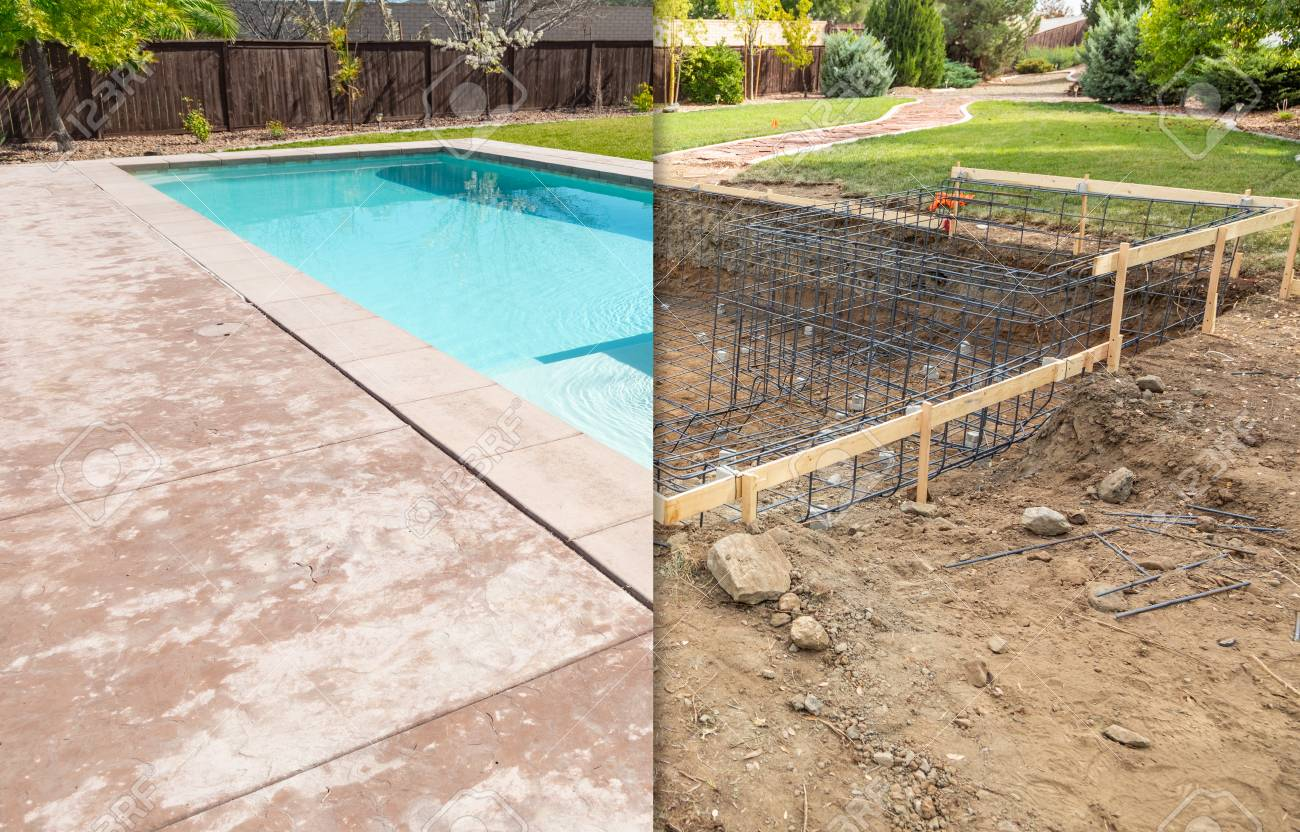 Before and After Pool Build Construction Site. - 117349357