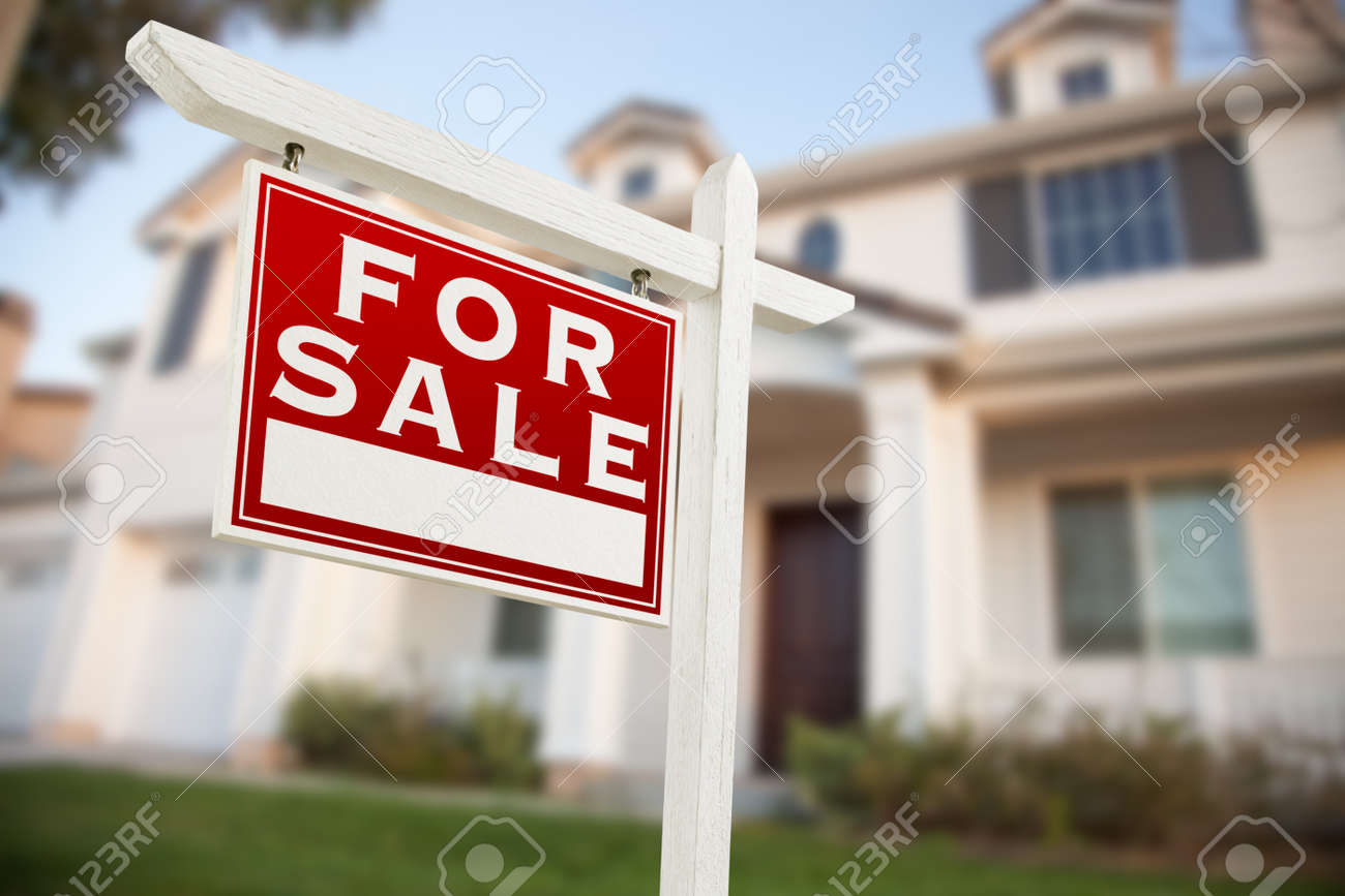 Home For Sale Real Estate Sign in Front of New House. - 158656541