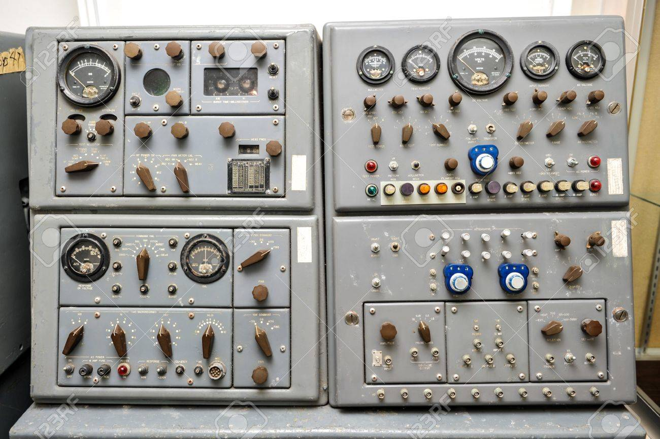 Missile Control Panel With Lights Dials, Switches, Knobs And ...