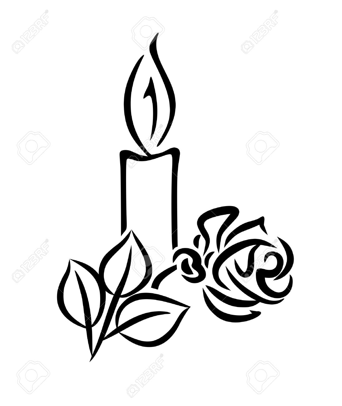 Black And White Illustration Of A Candle With Rose Stock Photo ... for Candle Clip Art Black And White  75tgx