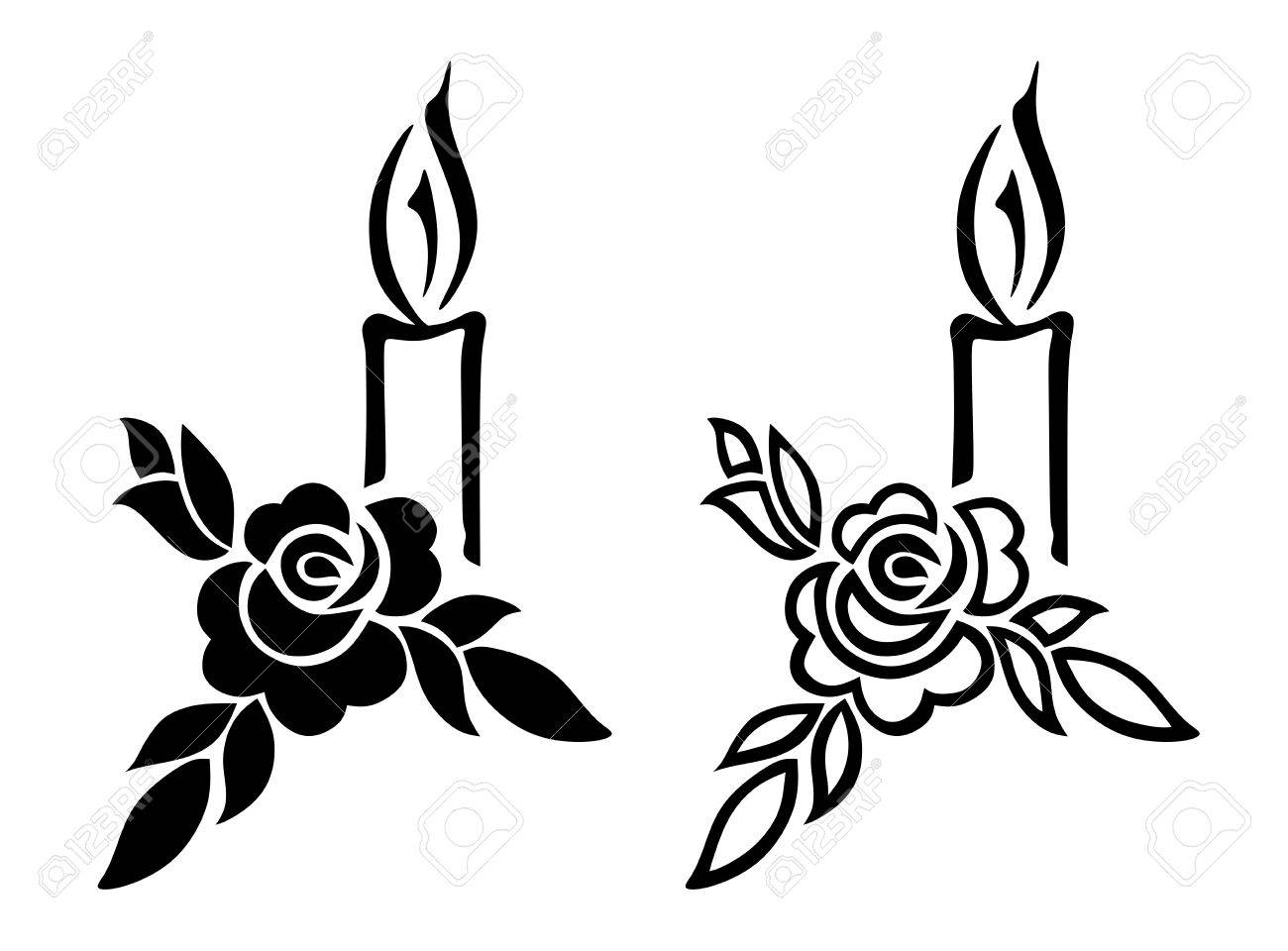 illustration of funerary decoration with rose and candle Stock Photo - 23239388