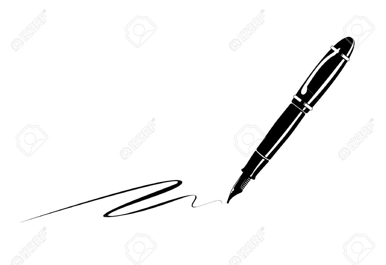 古い万年筆の白黒イラスト の写真素材画像素材 Image 23416596