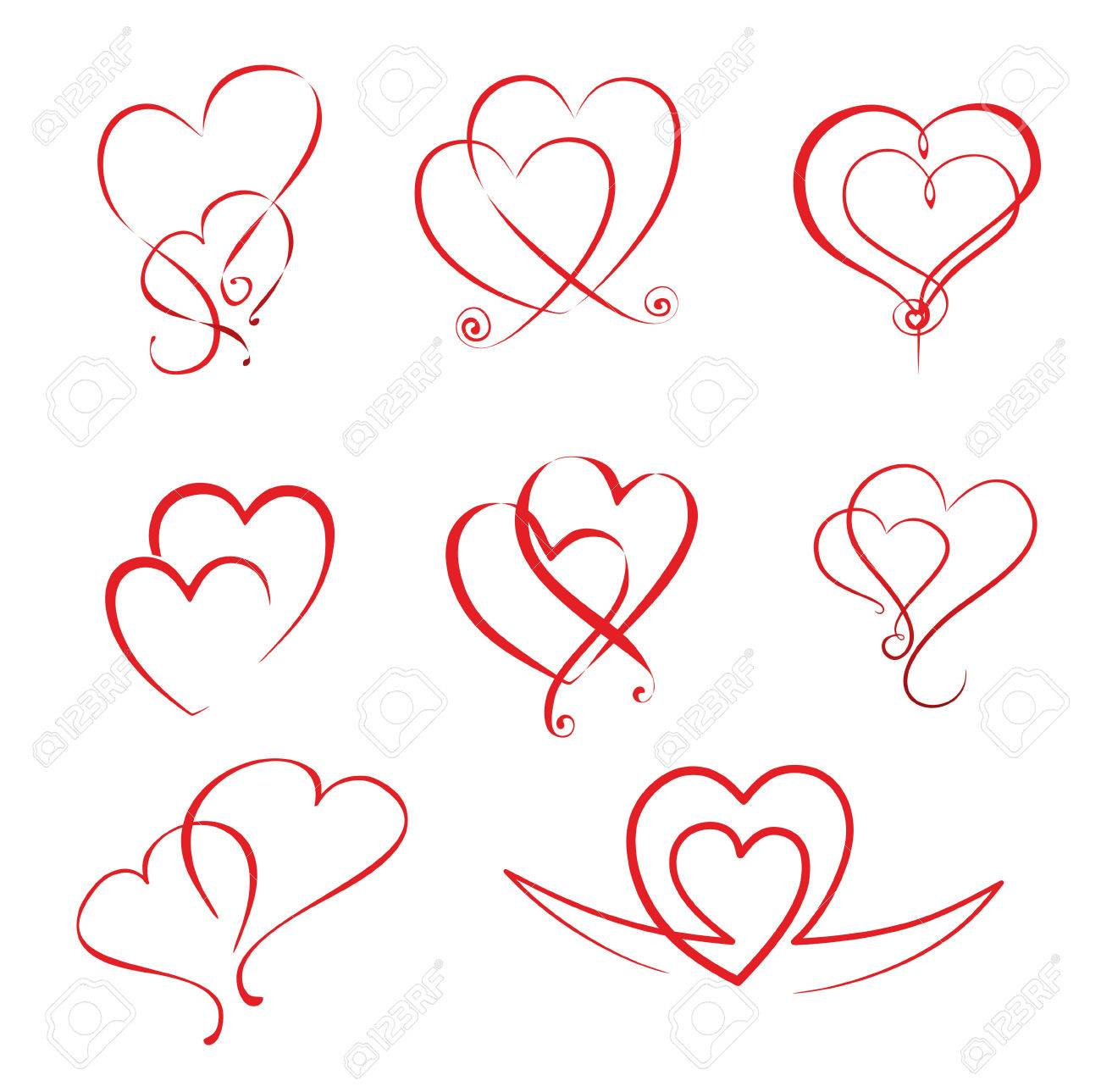 illustration of different simple hearts and heart ornaments royalty