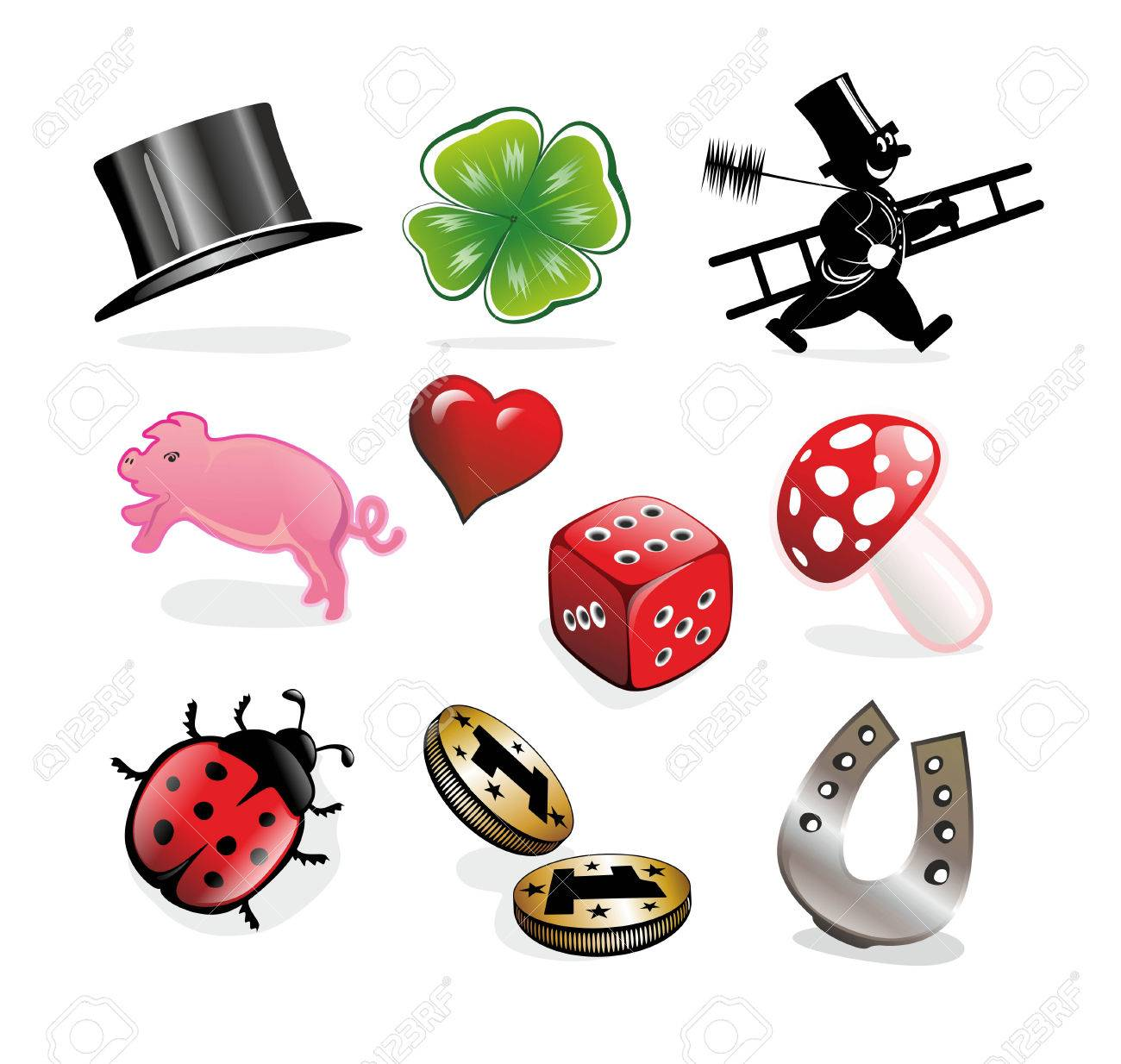 Collection Of Different Luck Charms And Symbols Stock Photo Picture