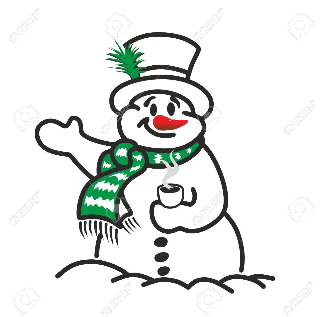 面白い雪だるまはシリンダー、マフラー、コーヒー カップで