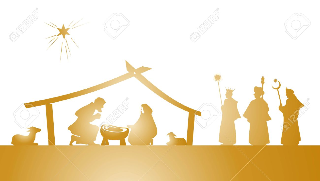 illustration of the christmas nativity play as silhouette - 24180879