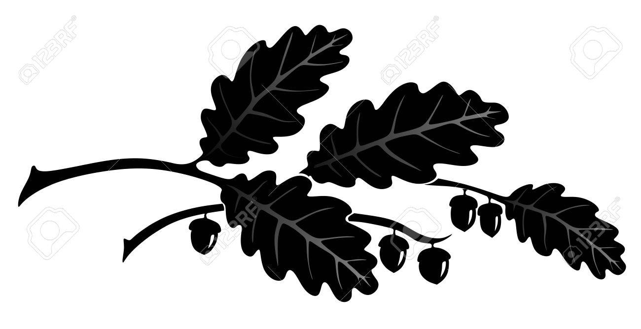 simplified illustration of oak leaves for decoration royalty free