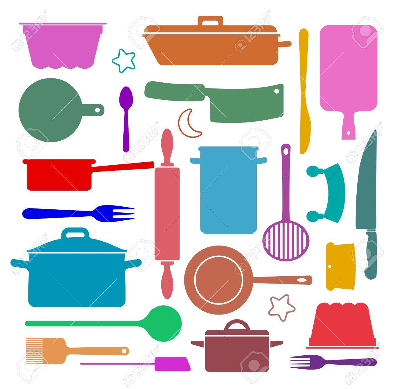 Wallpaper With Silhouettes Of Kitchen Utensils Royalty Free Cliparts