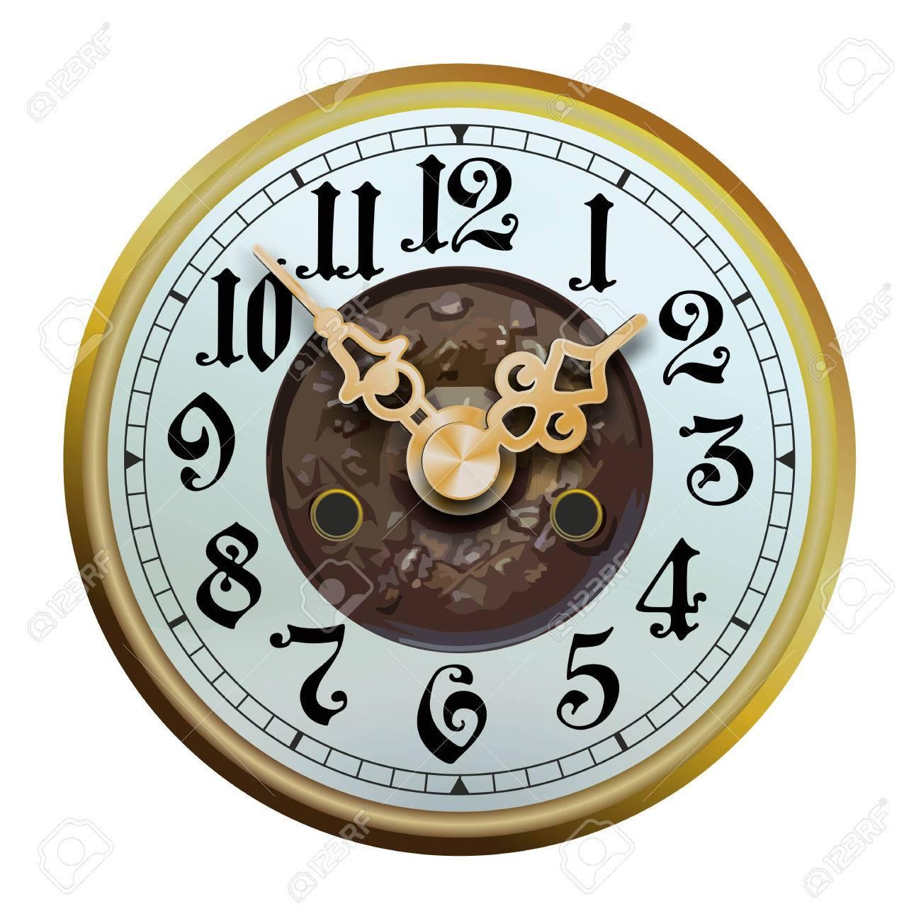 Viejo Cara Del Reloj Histórico Con Embellecidos Manecillas Del
