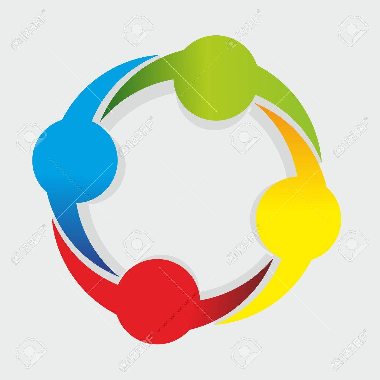 abstract form as symbol for teamwork and diversity royalty free
