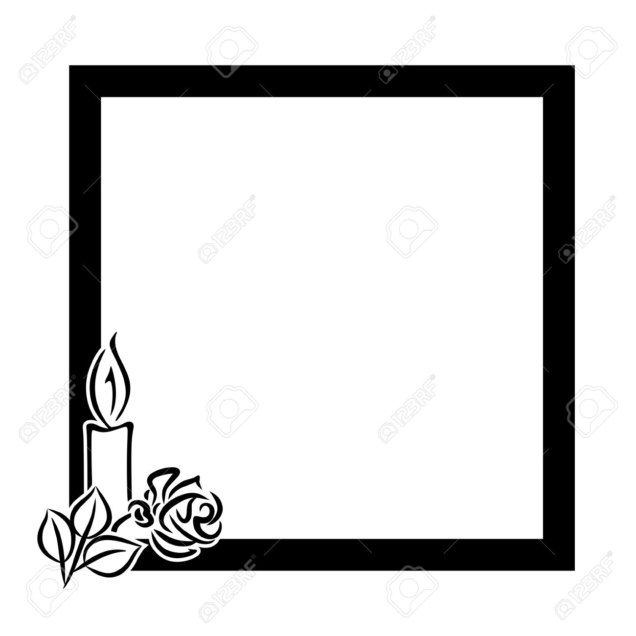 funeral decoration with black frame and candle with rose Stock Photo - 25782713