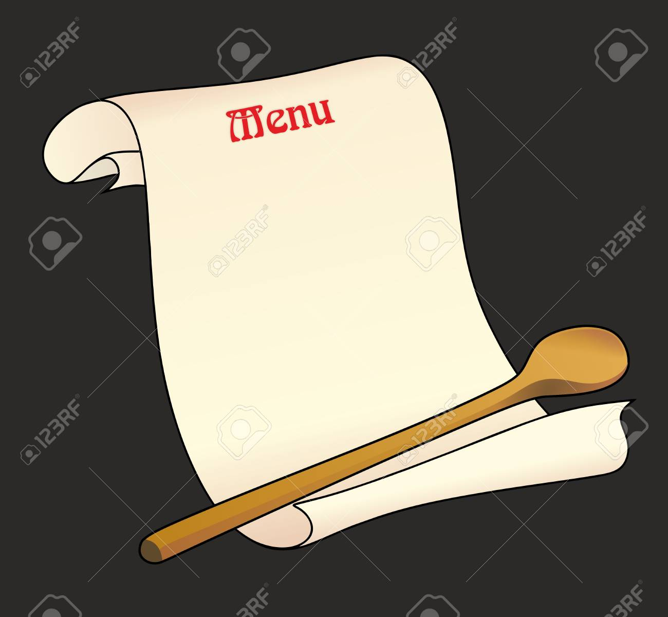 abstract blank menu card with cooking spoon stock photo 25996008
