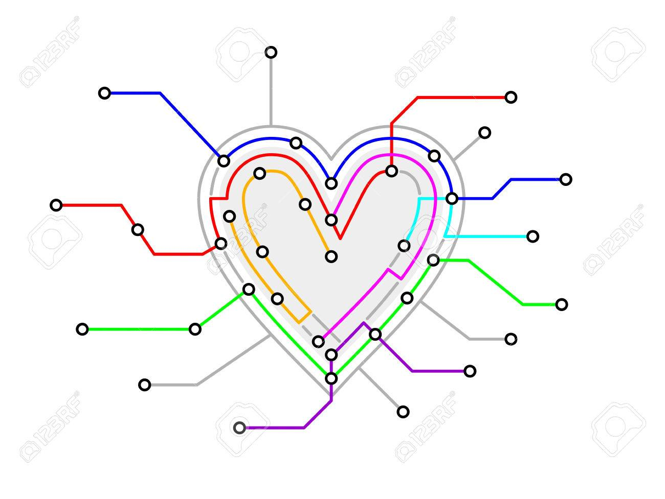 Subway Map In Heart Shape.Original Metro Map In The Shape Of A Heart