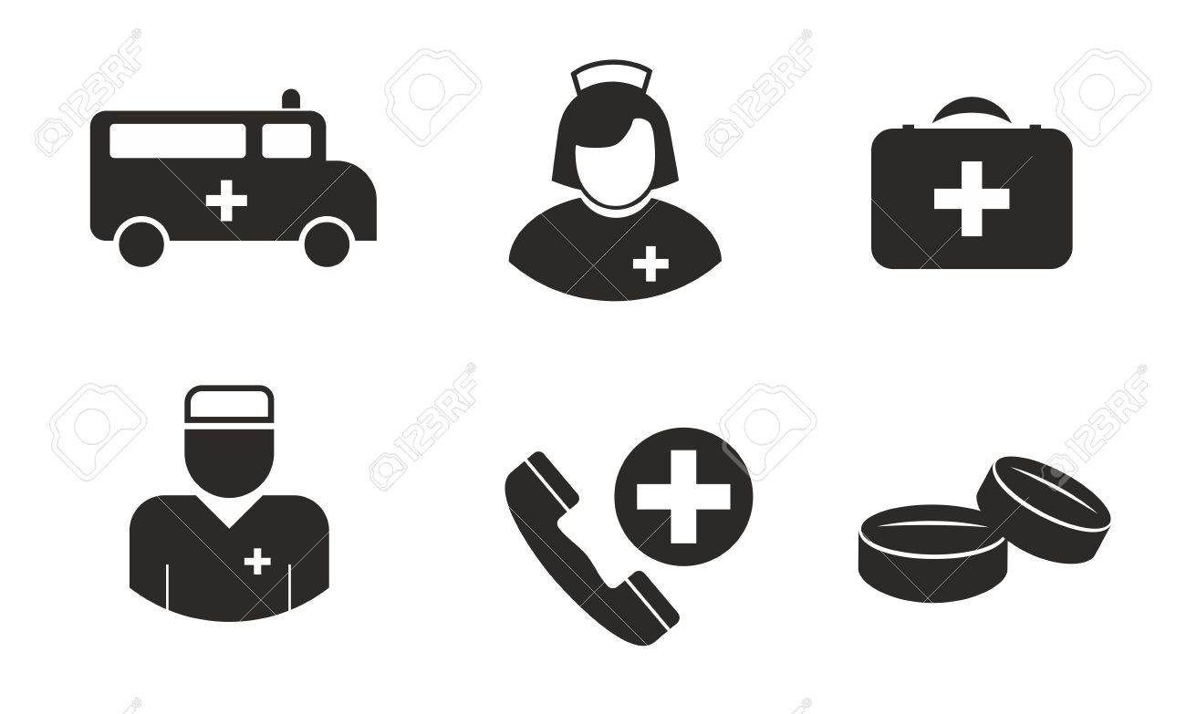 Medical Symbols Such As Doctor Nurse Pills And Ambulance Royalty