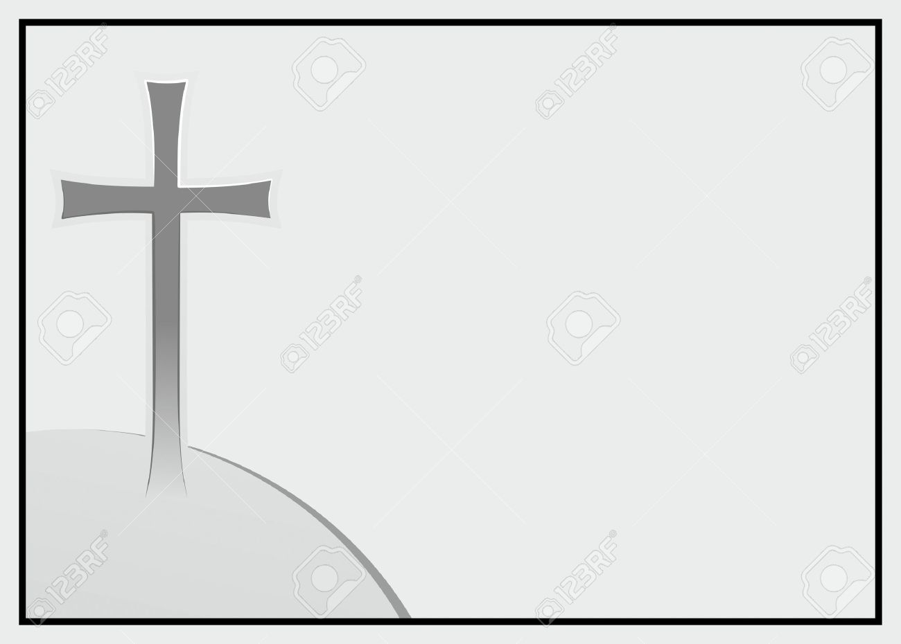 Decorative Frame With Cross For Obituary Notices Stock Photo ...