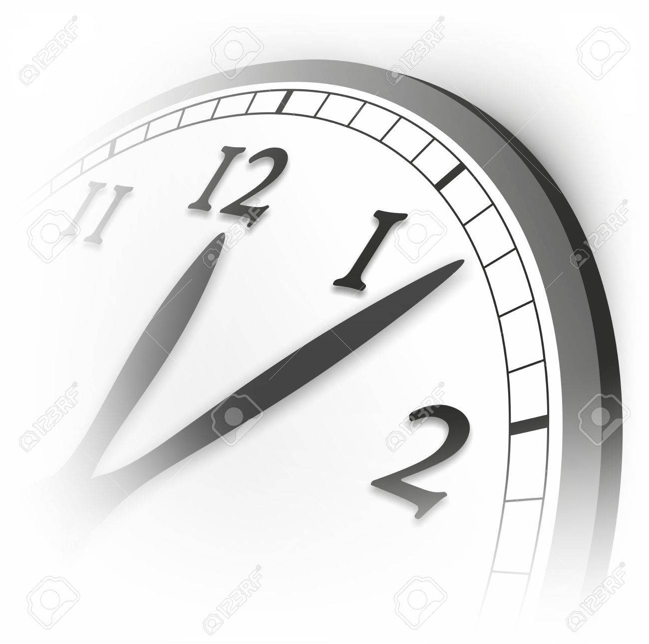Detail Of Clock With Hands Indicating Five Past Twelve Stock Photo