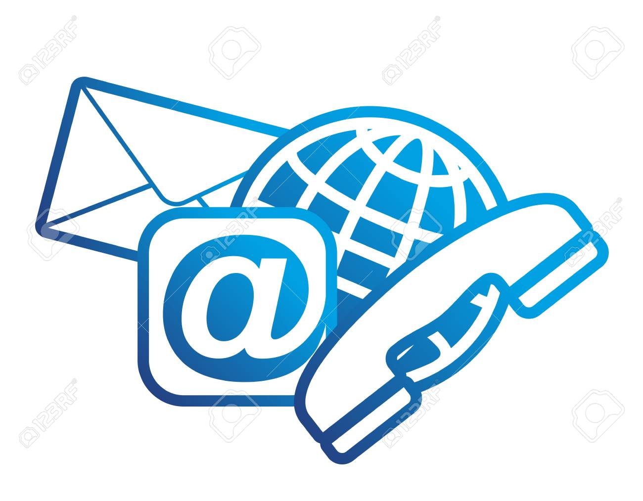 Symbol For Communication With Email Telephone And Letter Stock