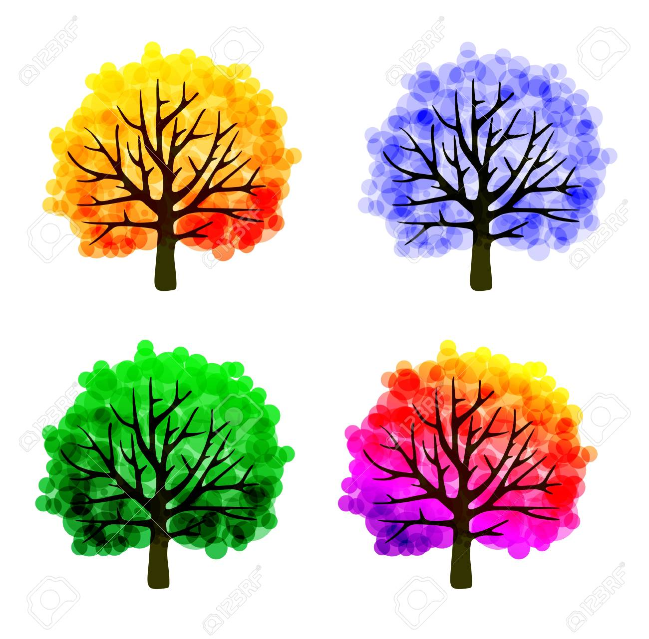 fall tree template with abstract colorful leaves stock photo