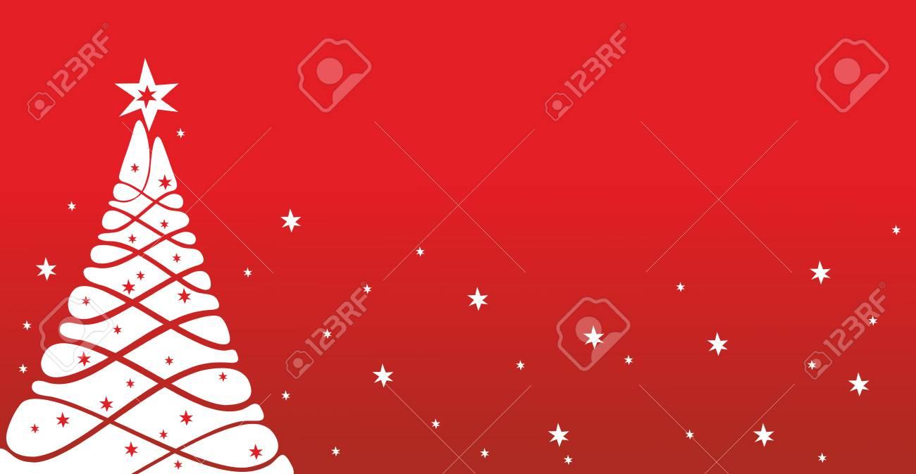 Weihnachtskarte Vorlage Mit Geschmückten Baum Und Schnee Lizenzfreie