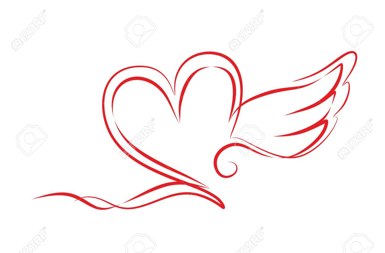 hearts with wings as a decorative element stock photo picture and rh 123rf com pictures of hearts with wings to color images of hearts with wings and halo