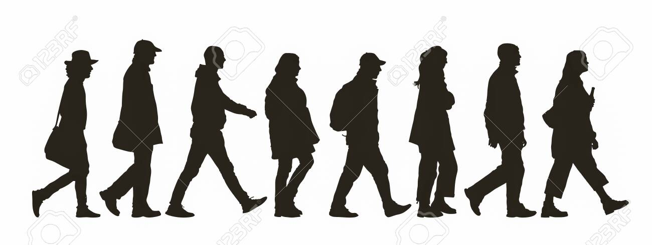 Abstract silhouette of different people walking by - 134222636