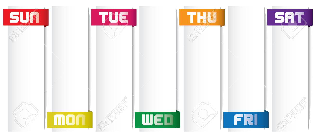 weekday planner for private and office user royalty free cliparts