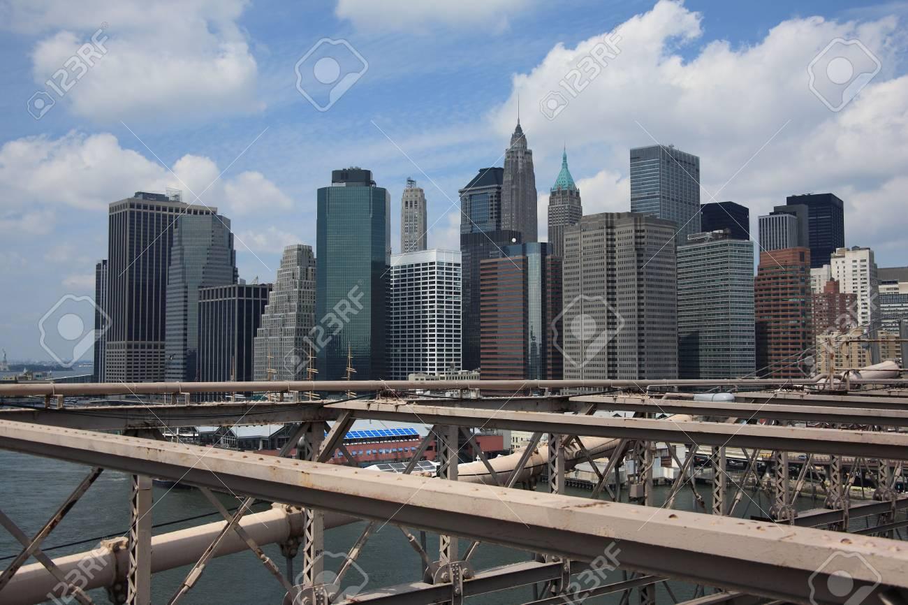 New York City Skyline - lower Manhattan as seen from the Brooklyn Bridge Stock Photo - 5340107
