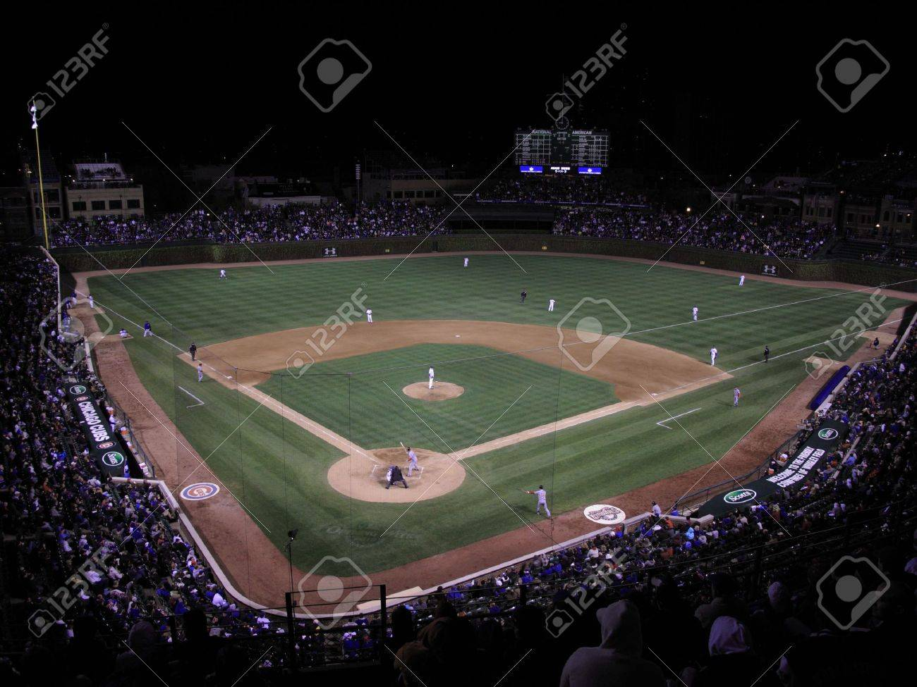 Chicago, Illinois - April 26, 2010: Rare Wrigley Field night game pitting the Chicago Cubs against the Washington Nationals Stock Photo - 7124350