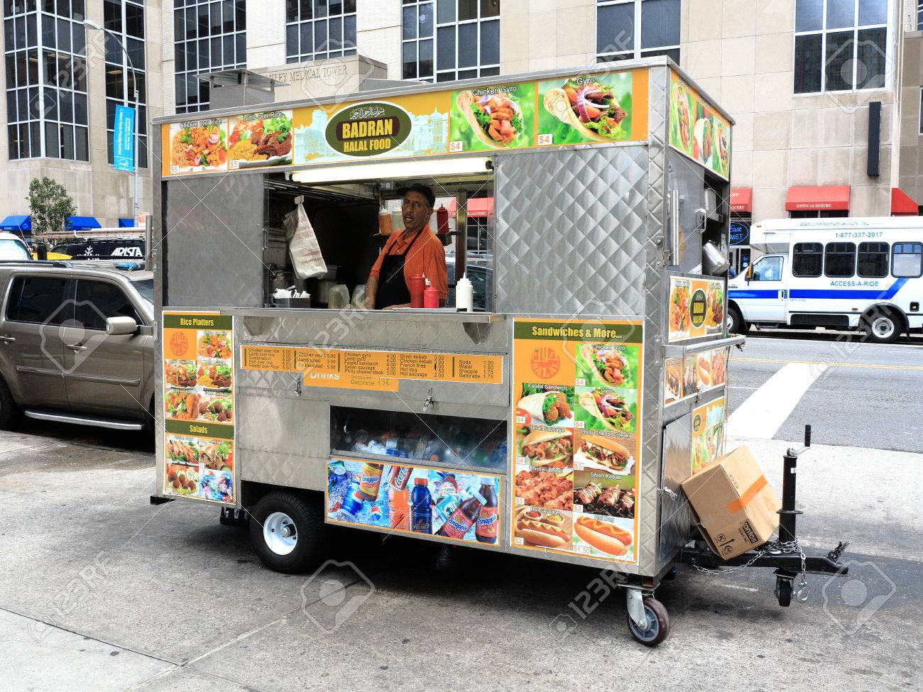 New York - August 11, 2015: Food stand on a Manhattan street