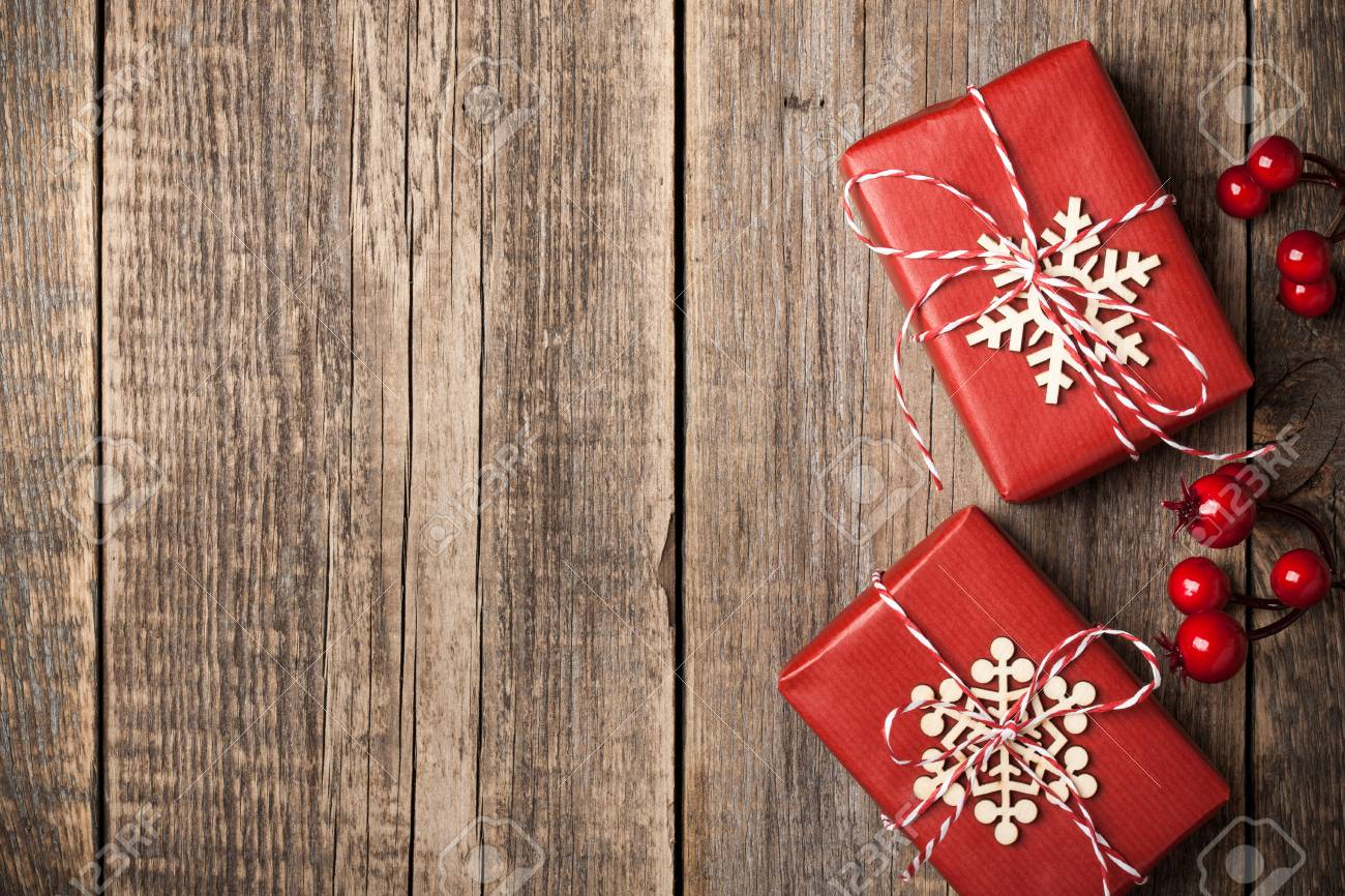 Christmas Gift Boxes On Wooden Background Stock Photo Picture And Royalty Free Image Image 89548123
