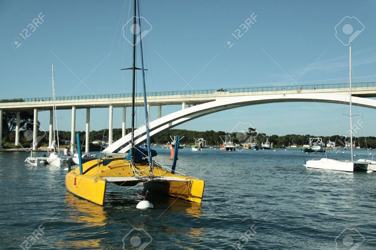 yellow catamaran in front of a bridge Stock Photo - 5498316