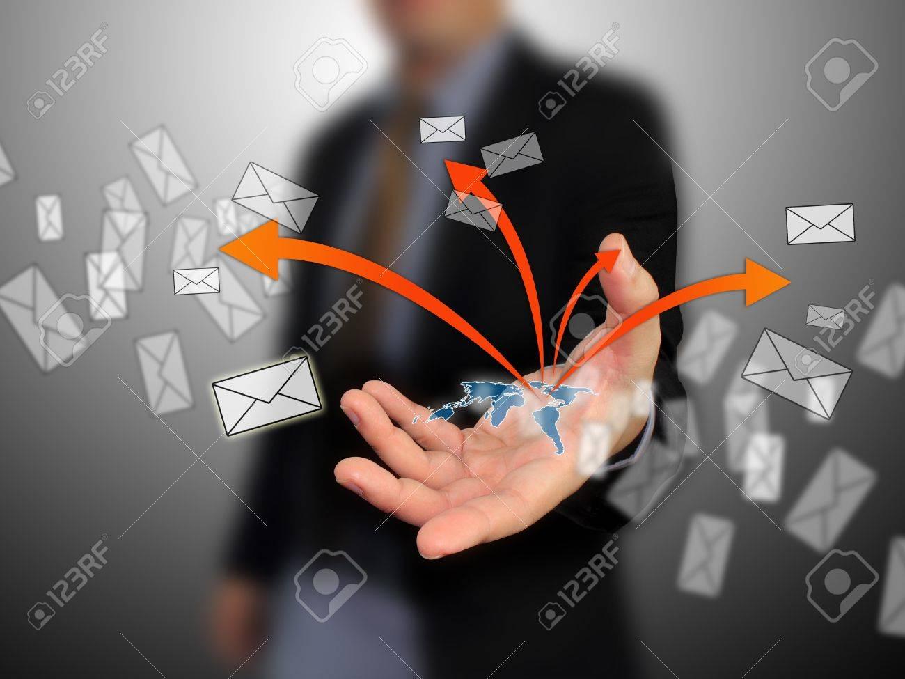Businessman sent message Stock Photo - 10558418