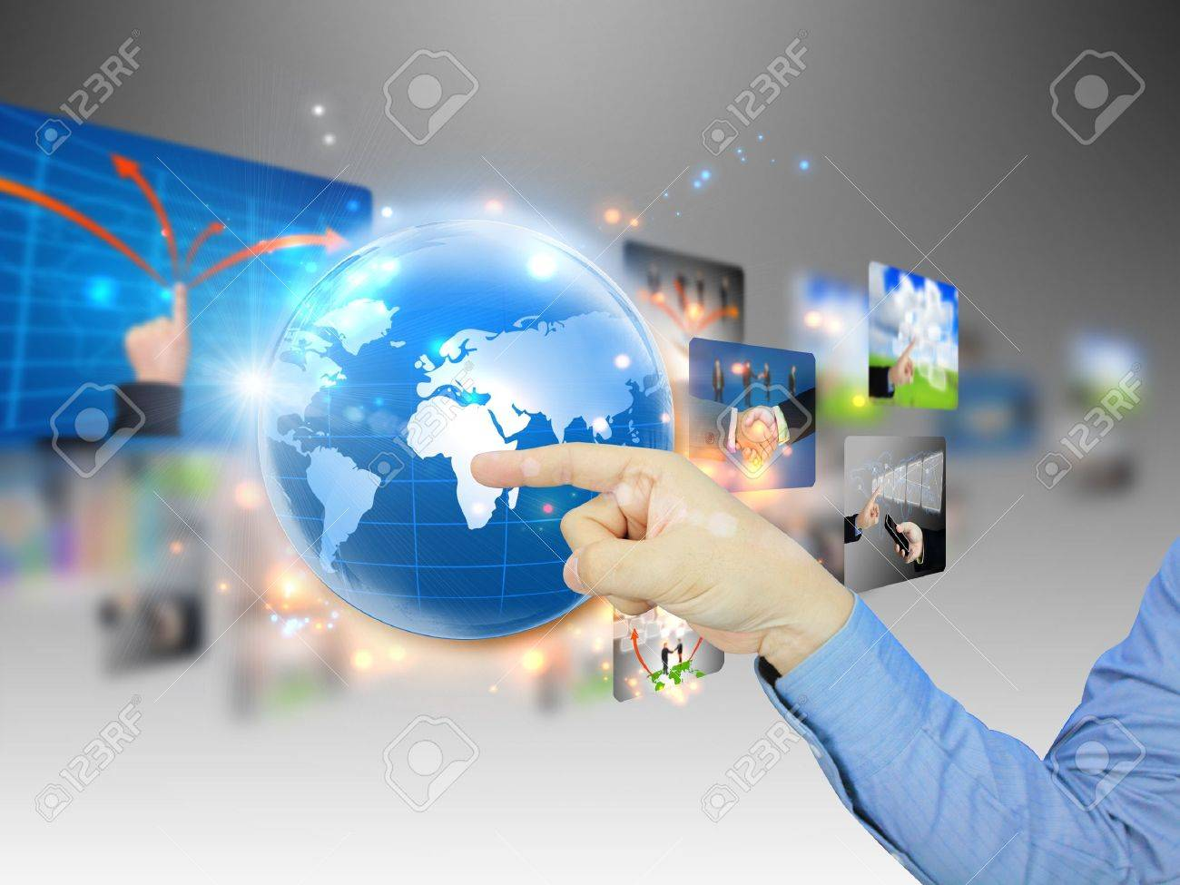 hand press business world Stock Photo - 10905731