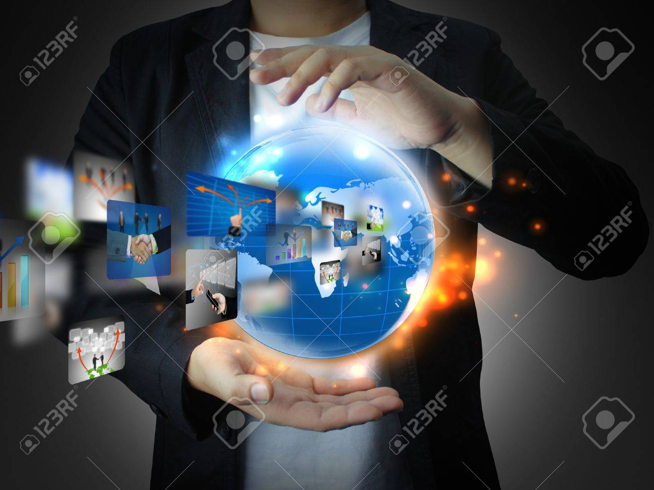 hand holding business world Stock Photo - 12107197