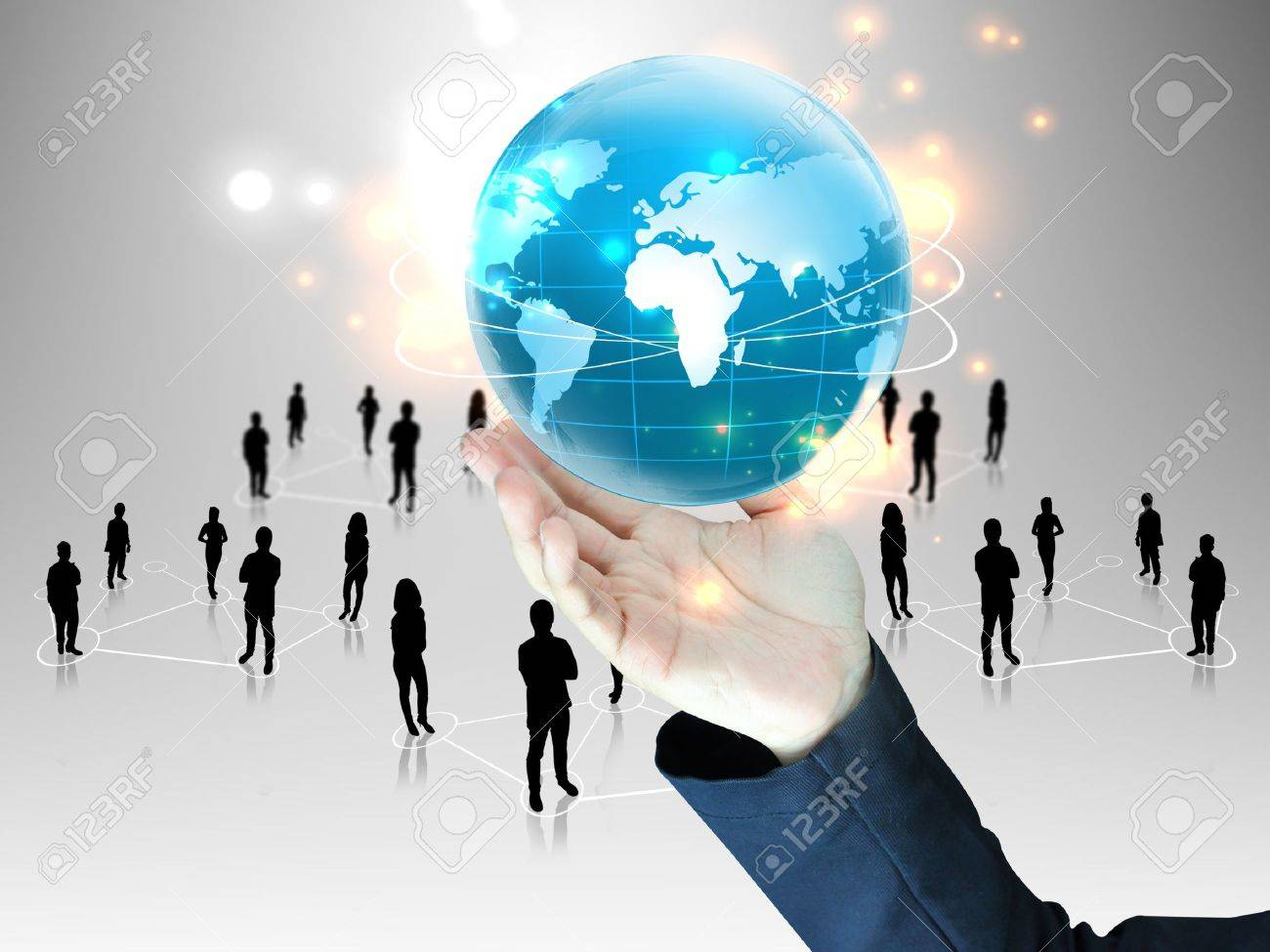 businessman holding global people team stock photo picture stock photo businessman holding global people team