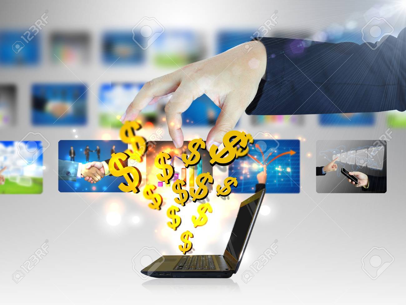 Online business.Dollar sign coming out of notebook screen Stock Photo - 12358850