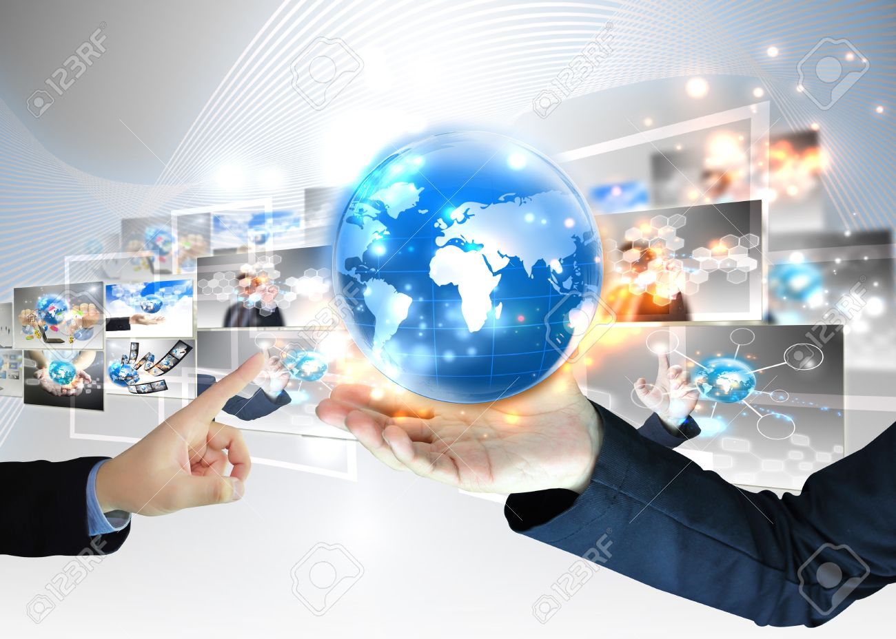 Businessman holding world .Technology concept Stock Photo - 12729376