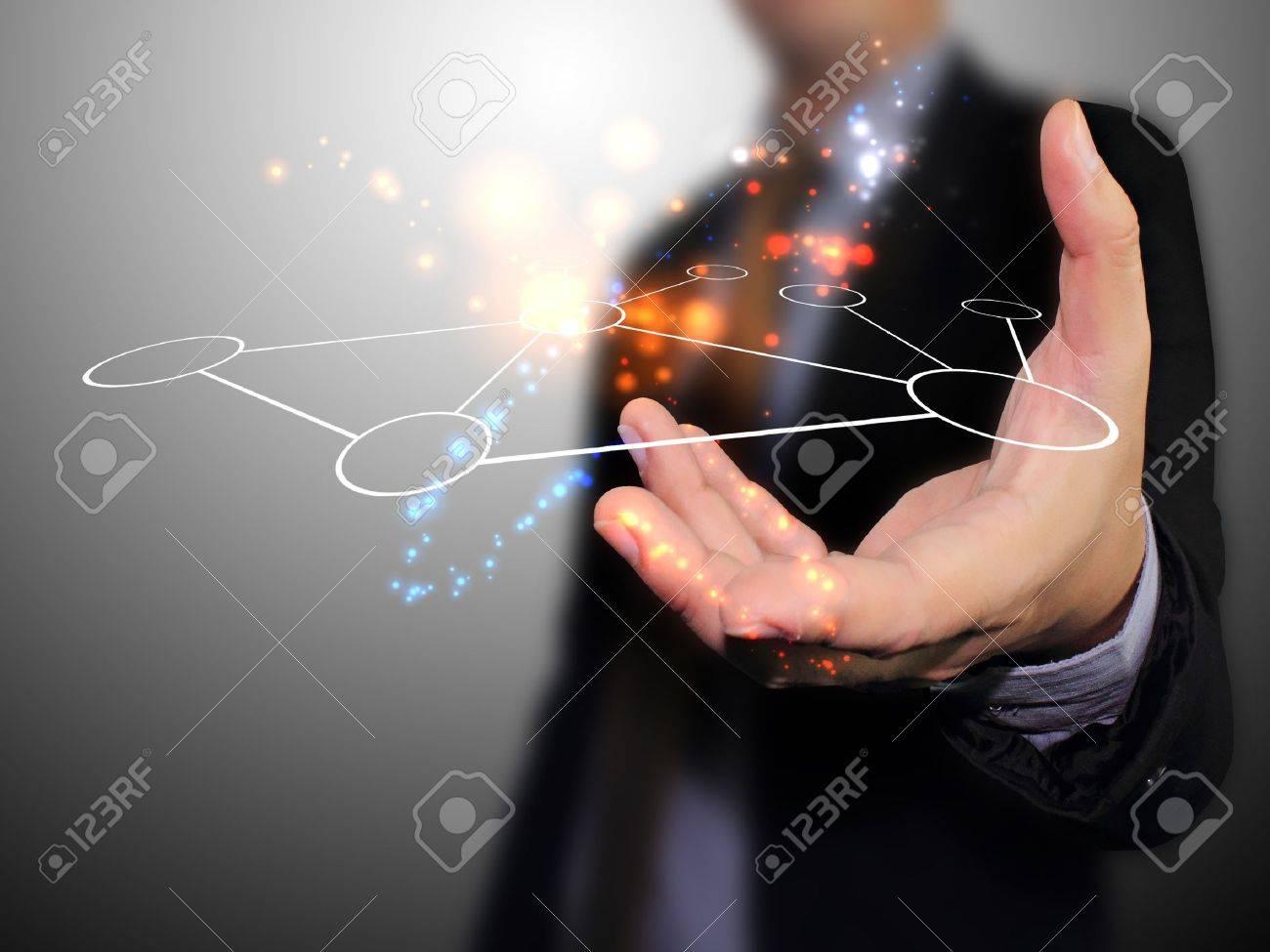 Hand holding network Standard-Bild - 12855768