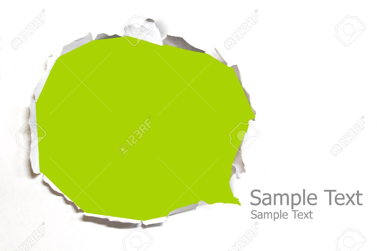 Torn paper with green background Stock Photo - 13105714