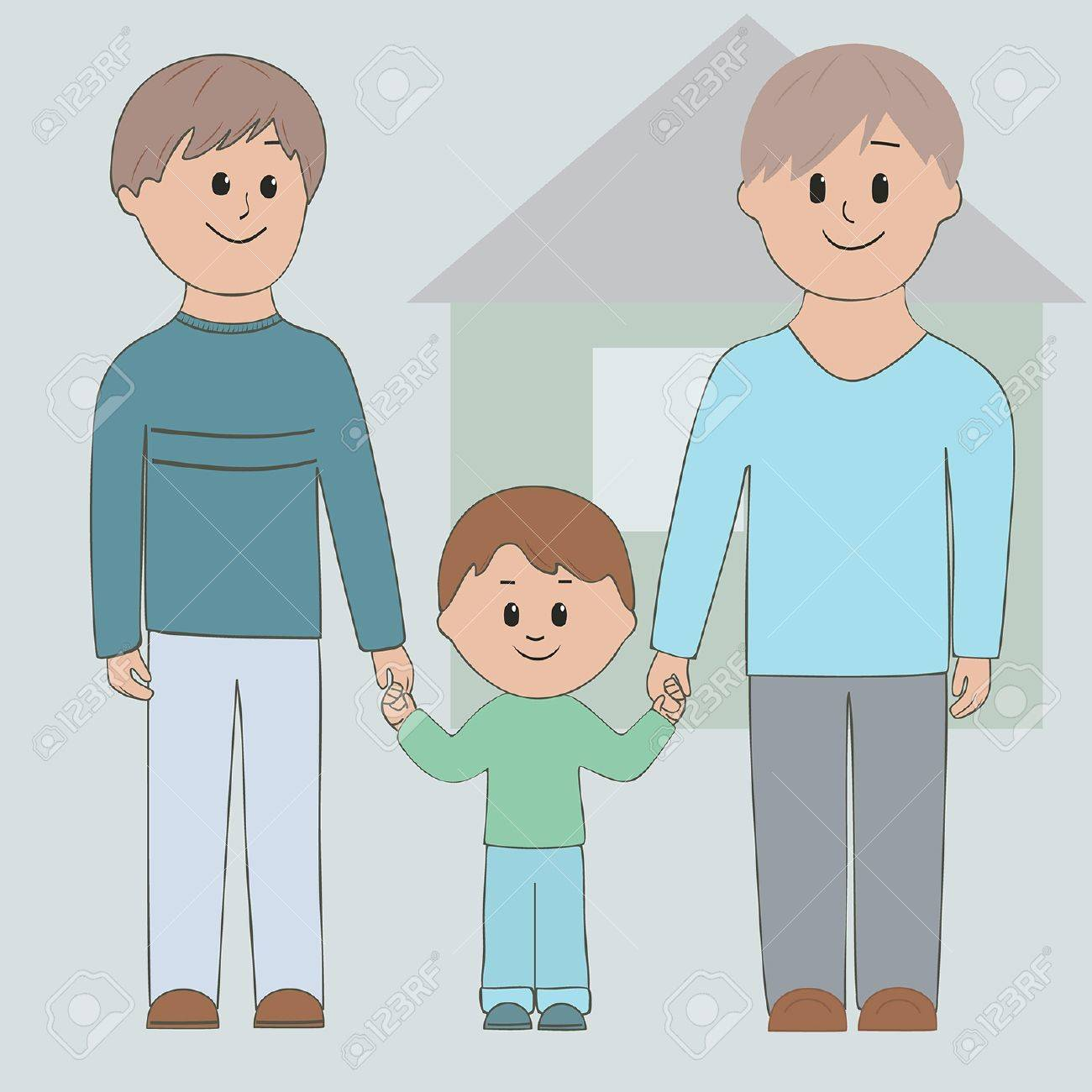 Gay couple holding his son by the hand Stock Vector - 16332015