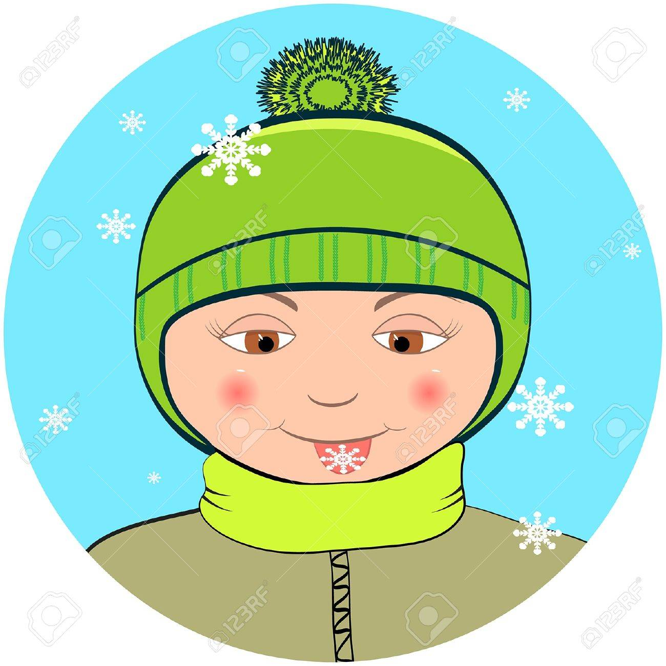 Boy with snowflake on the tongue Stock Vector - 17311292