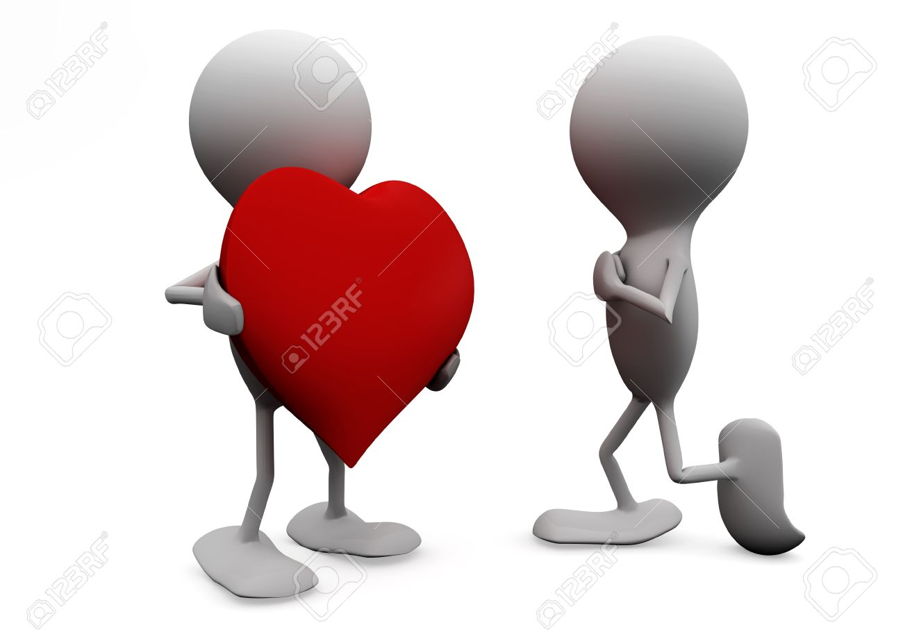 Man giving his heart to a woman. 3D love concepts. Stock Photo - 8616683