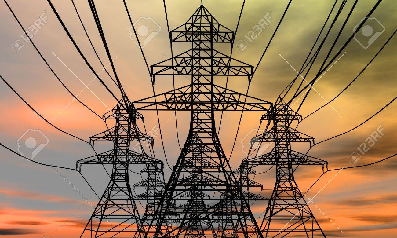 Energy towers on an  electric sky background. 3D rendered image. Stock Photo - 8820091