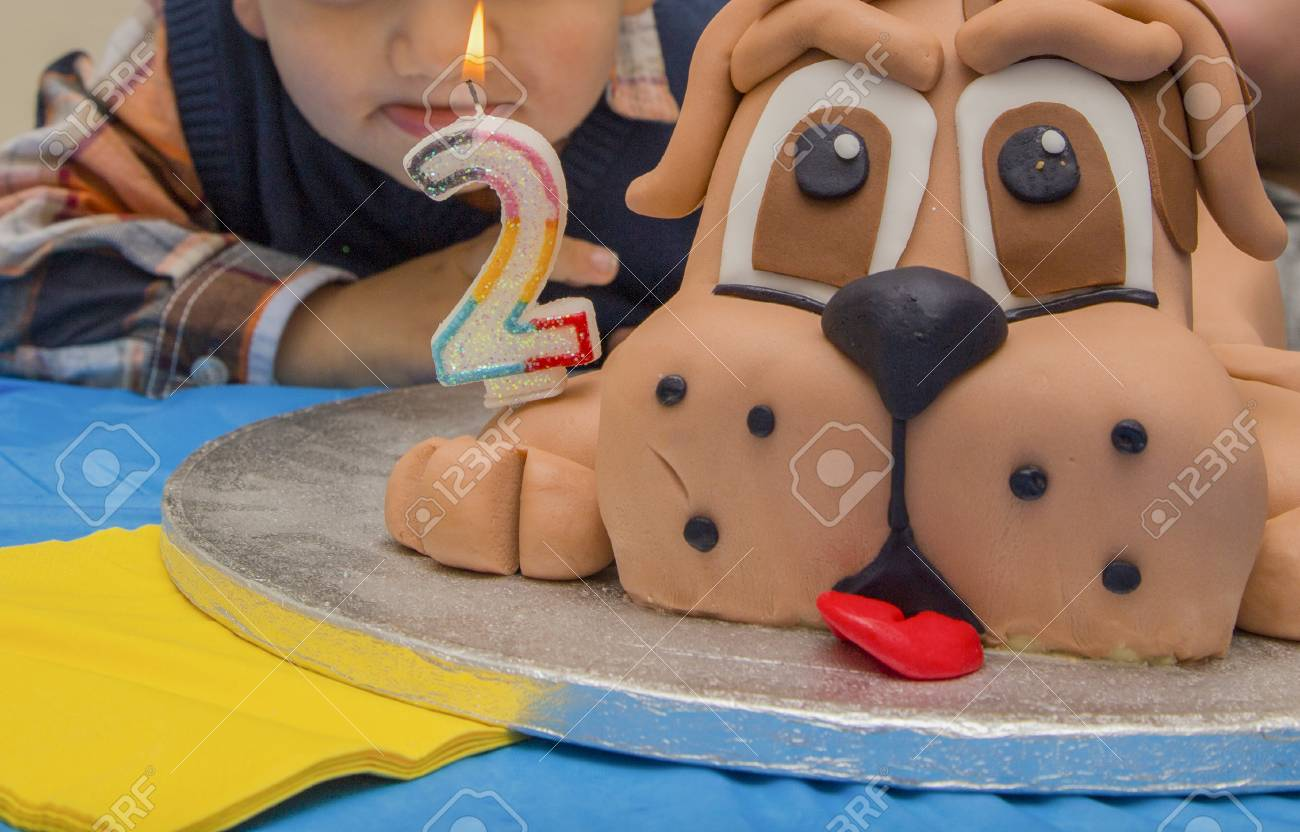 Magnificent Two Year Birthday Cake In The Shape Of A Dog Stock Photo Picture Funny Birthday Cards Online Elaedamsfinfo