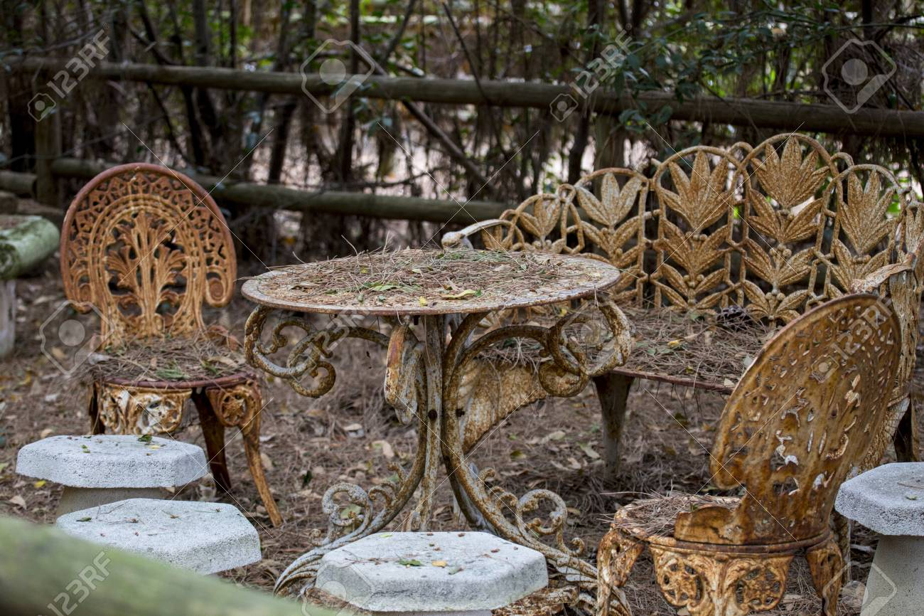 Garden Furniture In Abandoned And Rusty Art Nouveau Style Stock