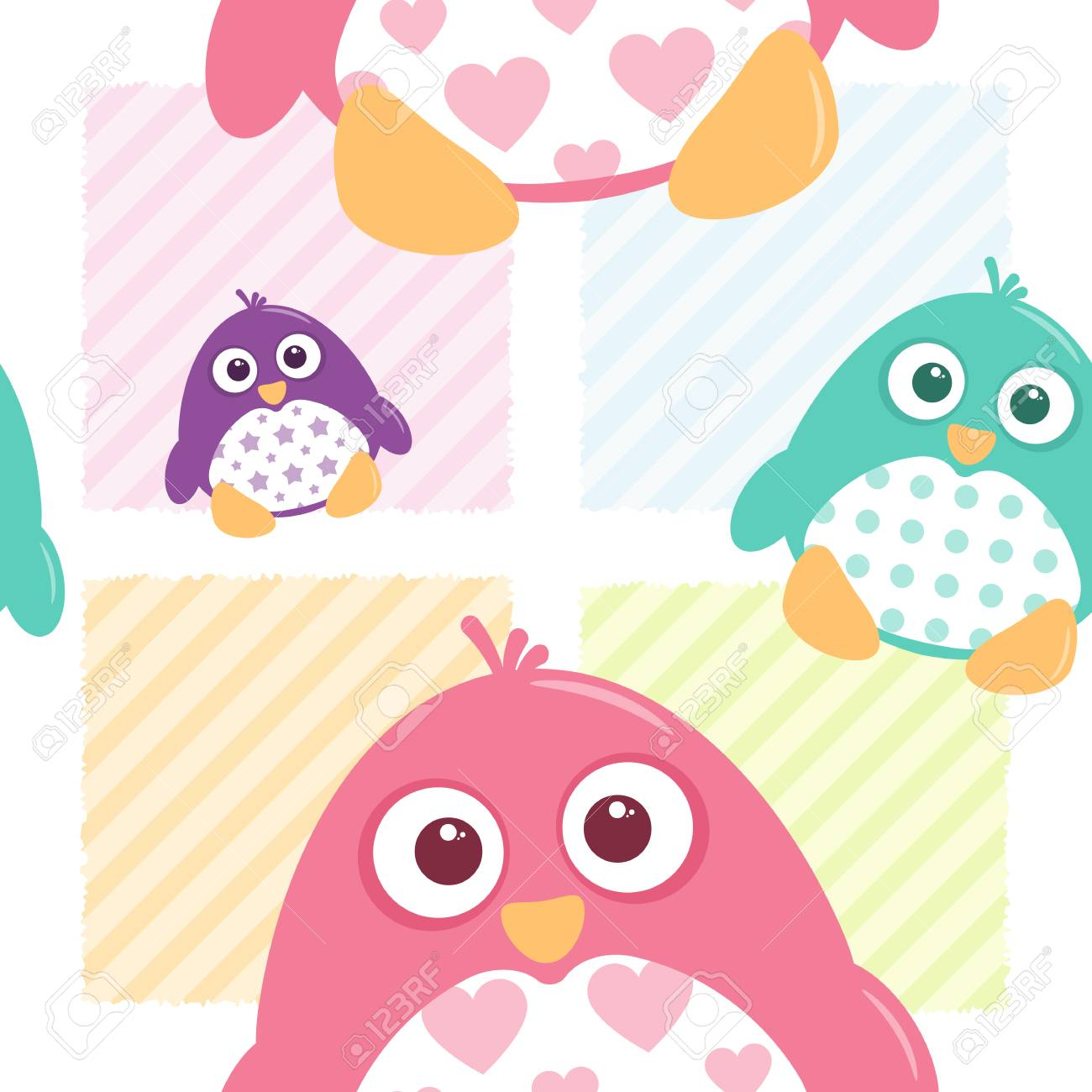 A seamless tile of fat, cartoon, vector penguins  These cute
