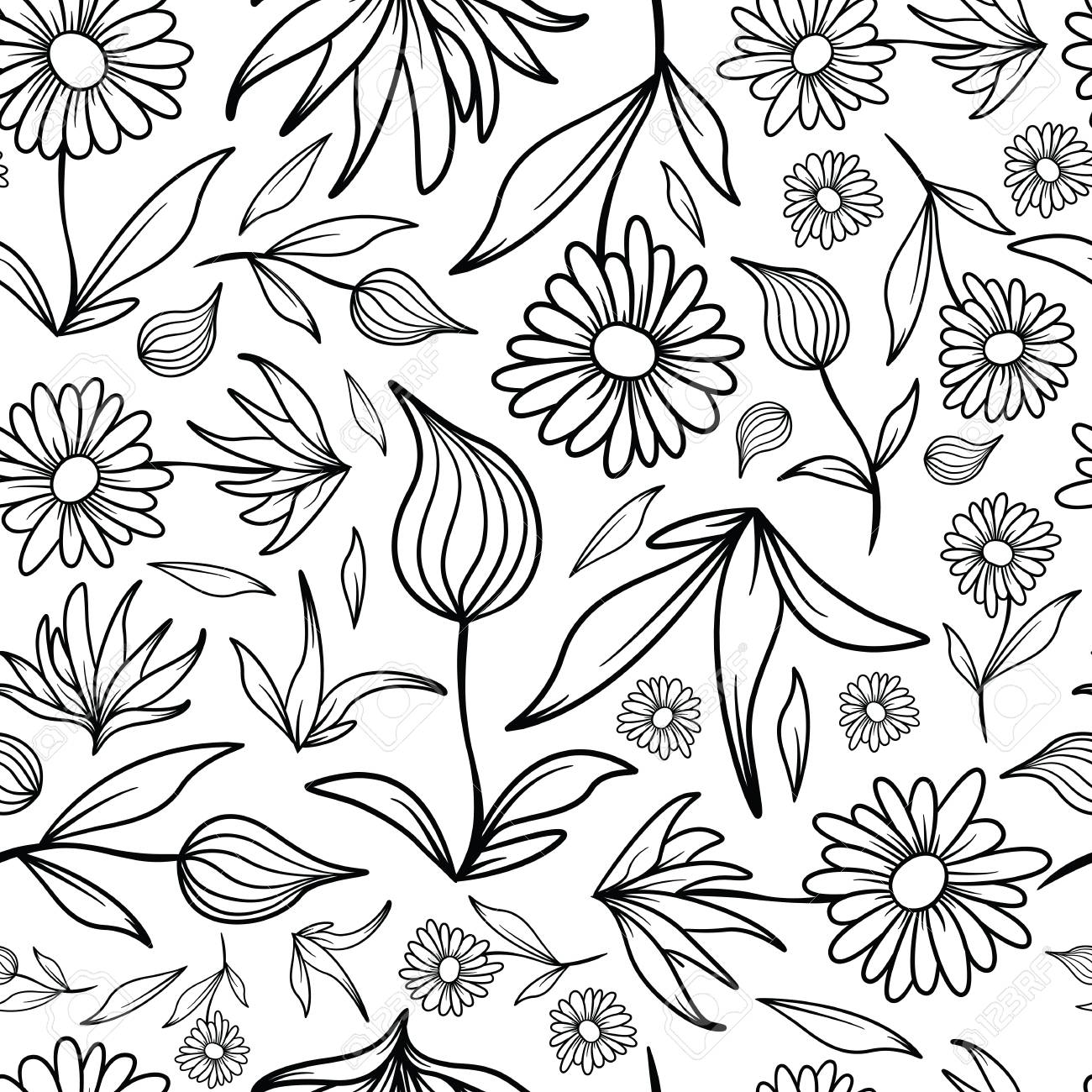 A seamless tiling pattern of line art flowers and leaves. - 114826151